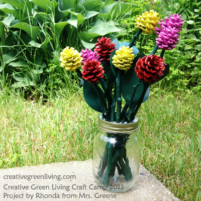 Turn pinecones and sticks into a cool rose craft - and 99 other screen free summer activity ideas for kids
