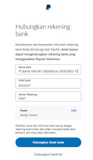 Form pengisian data rekening di Paypal