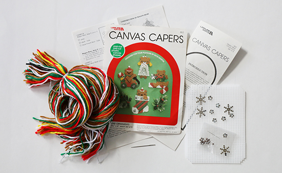 Teddy Bear Ornaments Plastic Canvas Needlework Kit