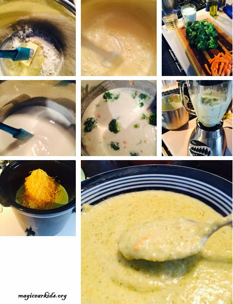 From start to finish steps to make homemade broccoli and cheese soup.