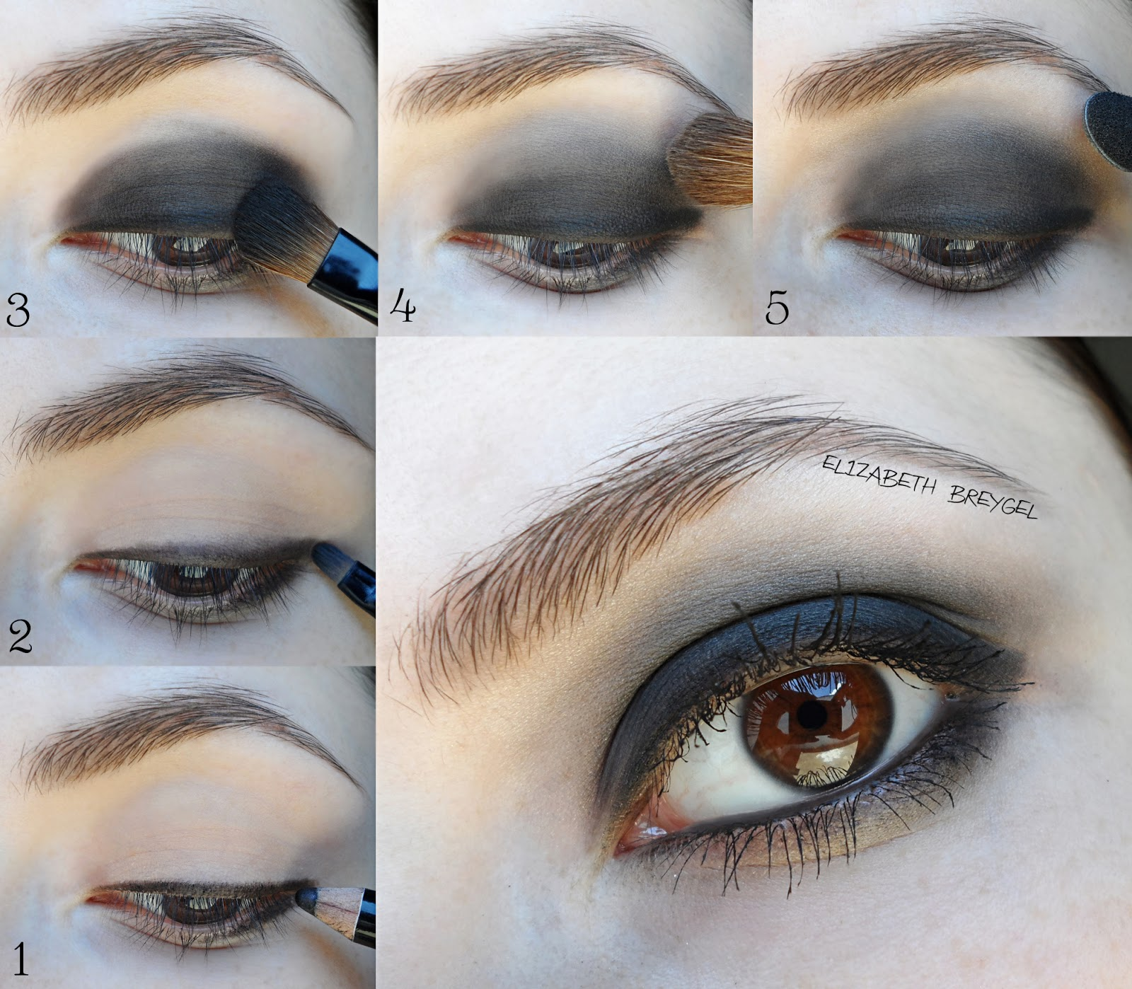 smoky eyes step by step makeup tutorial, black eye shadows