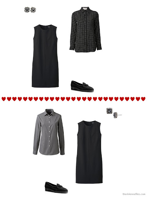 two ways to layer a sleeveless black dress from a travel capsule wardrobe