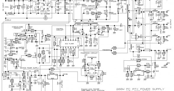 Wiring Schematic diagram: 200 Watt ATX Power Supply