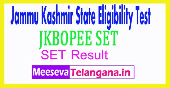 Jammu Kashmir State Eligibility Test SET Result 2017