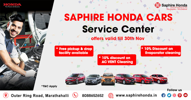 Exclusive offers on your Honda Cars service only at Saphire