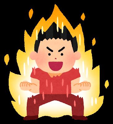 やる気に燃える人のイラスト(男性)