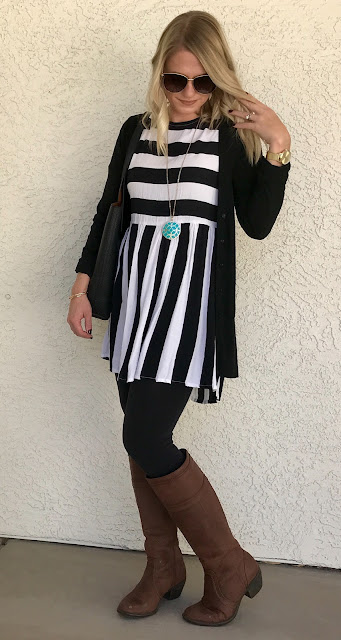 Thrifty Wife, Happy Life || dress with leggings and boots