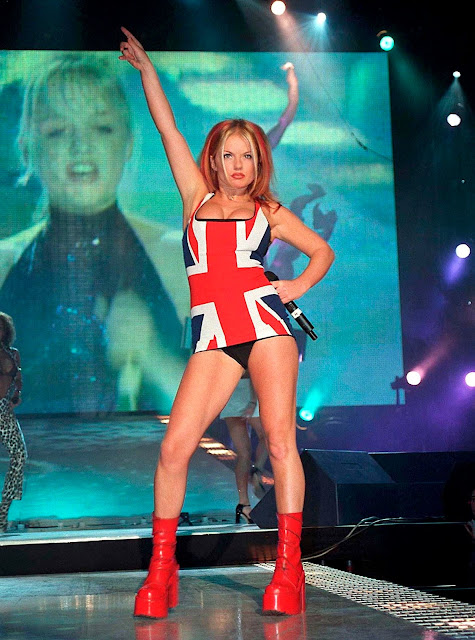 Geri Halliwell Ginger Spice wearing a very short Union Jack dress.Laser Kiwi. marchmatron.com
