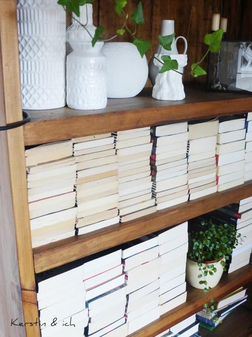 Bücherregal Büchersortierung liegend