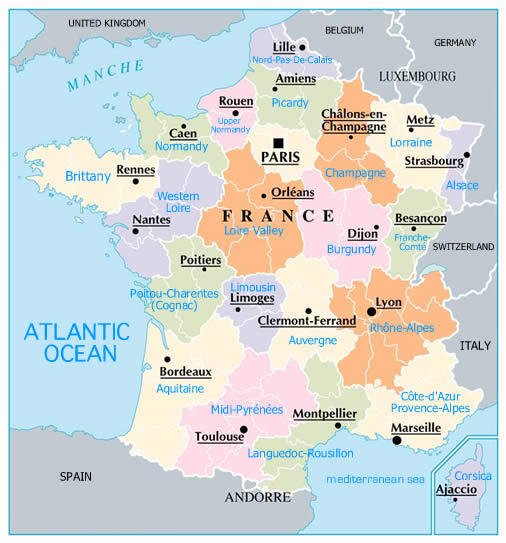 Map Of France With States.Maps Of Dallas Regions Of France Map