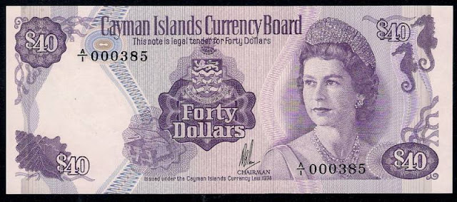 Cayman Islands currency 40 Dollars world banknotes for sale, Queen Elizabeth.