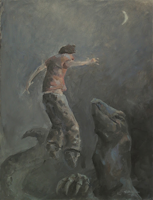 contact between lizard dinosaur and a guy under the moon oil painting