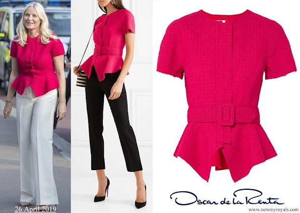 Crown Princess Mette-Marit-wore OSCAR DE LA RENTA Belted wool-blend tweed peplum jacket