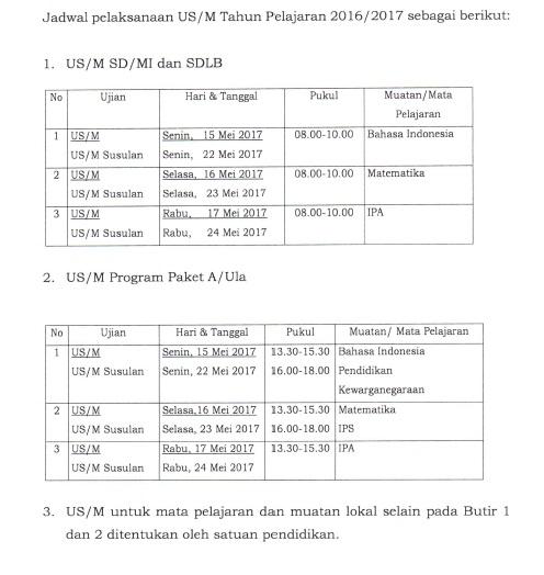 Jadwal Pelaksanaan US/M SD/MI, SDLB, Paket A/Ula Tahun Pelajaran 2016/2017