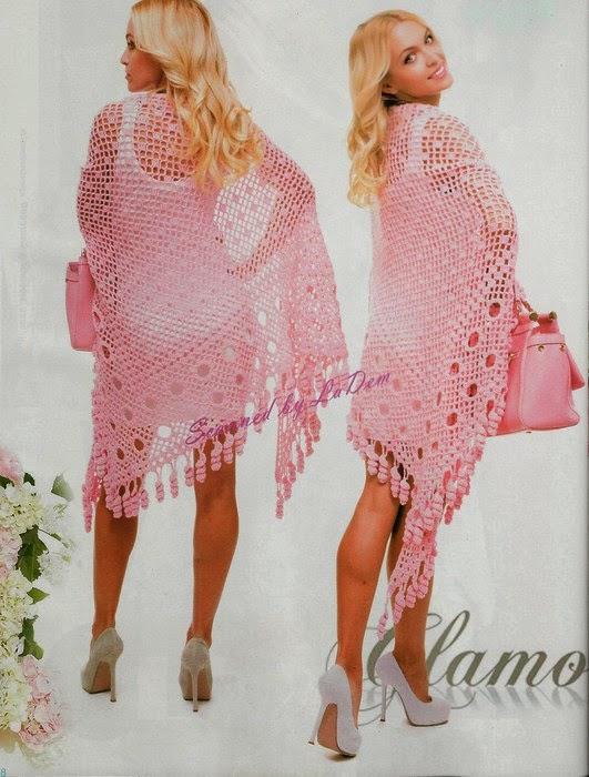 Chal / mantón en tono rosa al crochet