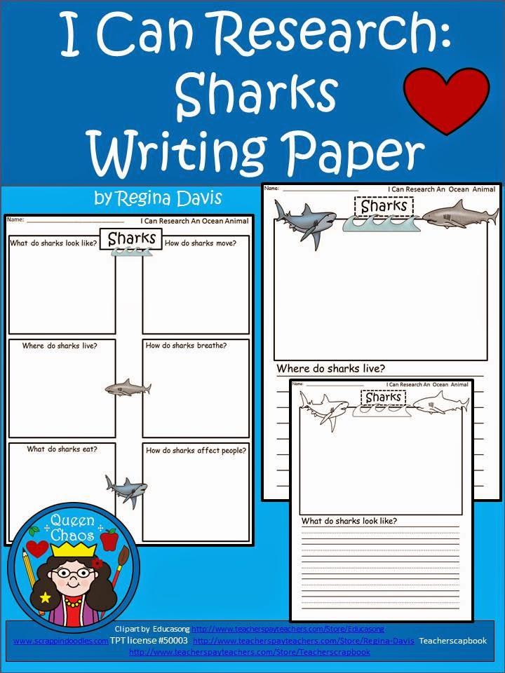 Ocean animal writing paper