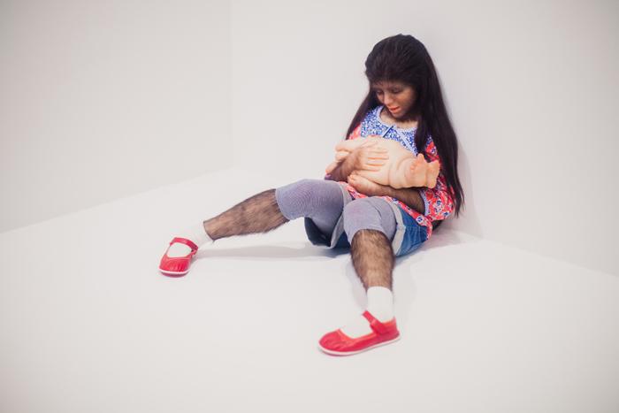 hairy leg girl sculpture