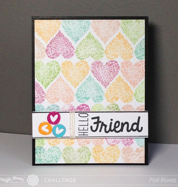 Hello Friend Card for Waffle Flower Challenge