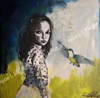 kunst,maleri,lærred,glad,farver,humør,barn,pige,kolibri,hummingbird,himmel,art,girl,ayoe lise