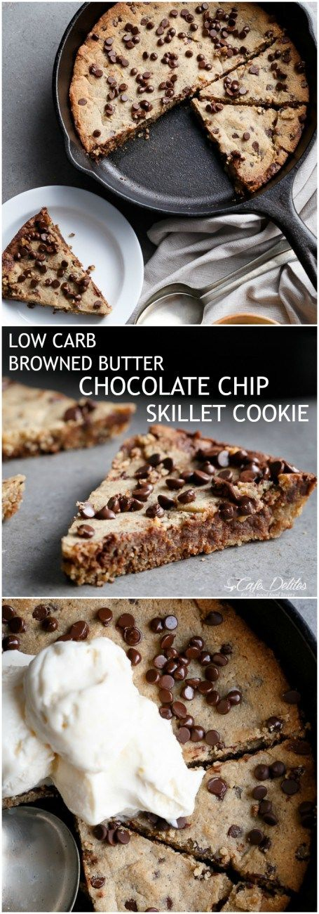 Low Carb/Keto Browned Butter Chocolate Chip Skillet Cookie