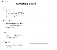 Ancient Egypt Worksheet: Word Unscramble