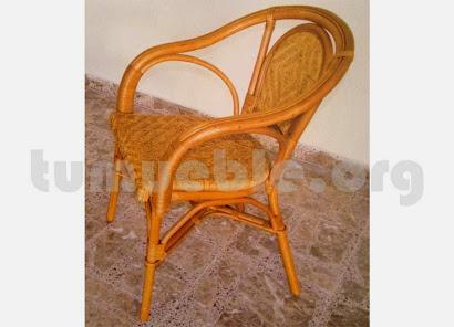 sillón para comedor hecho en caña de bambú y rattan natural j24