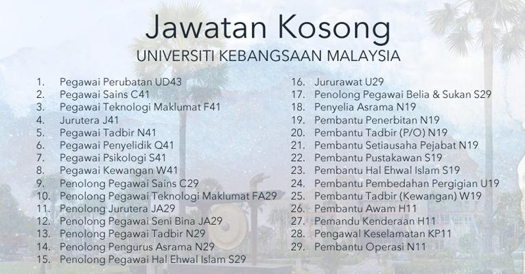 Jawatan Kosong Terkini  di Universiti Kebangsaan Malaysia UKM
