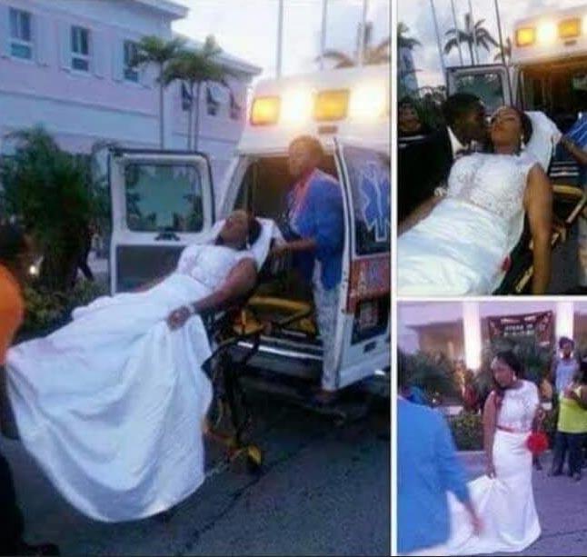Dafuq? Lady arrives her wedding in ambulance