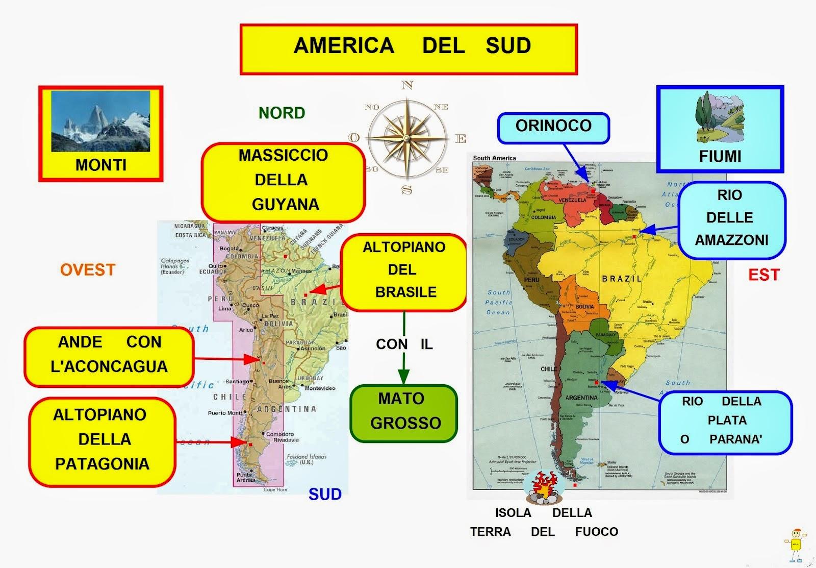 Cartina Geografica Dell America Del Sud.Mappa Concettuale America Del Sud Monti E Fiumi Scuolissima Com