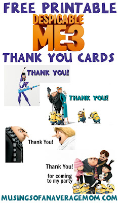 Despicable Me 3 thank you cards