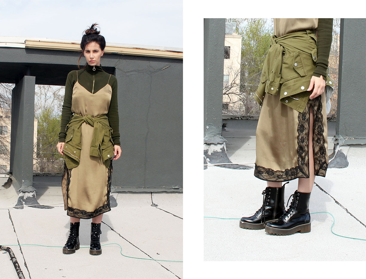 army green street style, combat boots, monochromatic outfit
