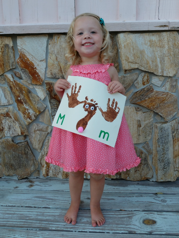 M is for Moose, hand print foot print moose painting craft