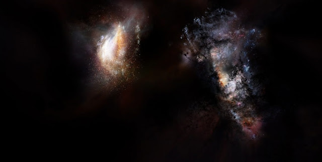 Artist impression of a pair of galaxies from the very early universe. Credit: NRAO/AUI/NSF; D. Berry