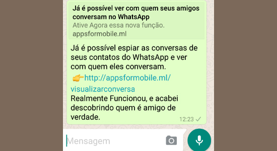 Mensagem golpe WhatsApp