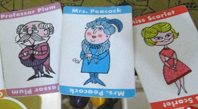 Close up of Miss Scarlet, Professor Plumb, and Mrs. White with their cartoon modern styling