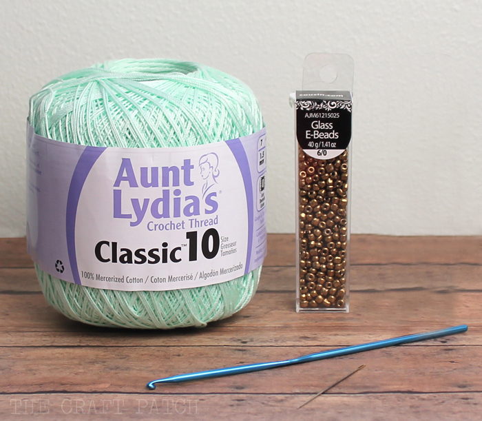 Size 10 crochet thread and glass E-beads