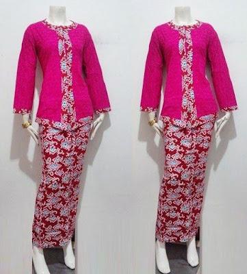 Contoh Baju Batik Muslim Kombinasi 2 Warna