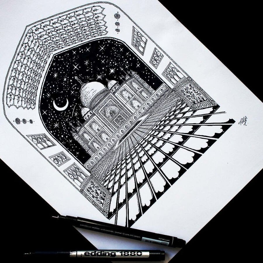 11-Architecture-Tímea-Tellér-Ink-Black-and-White-Illustrations-www-designstack-co