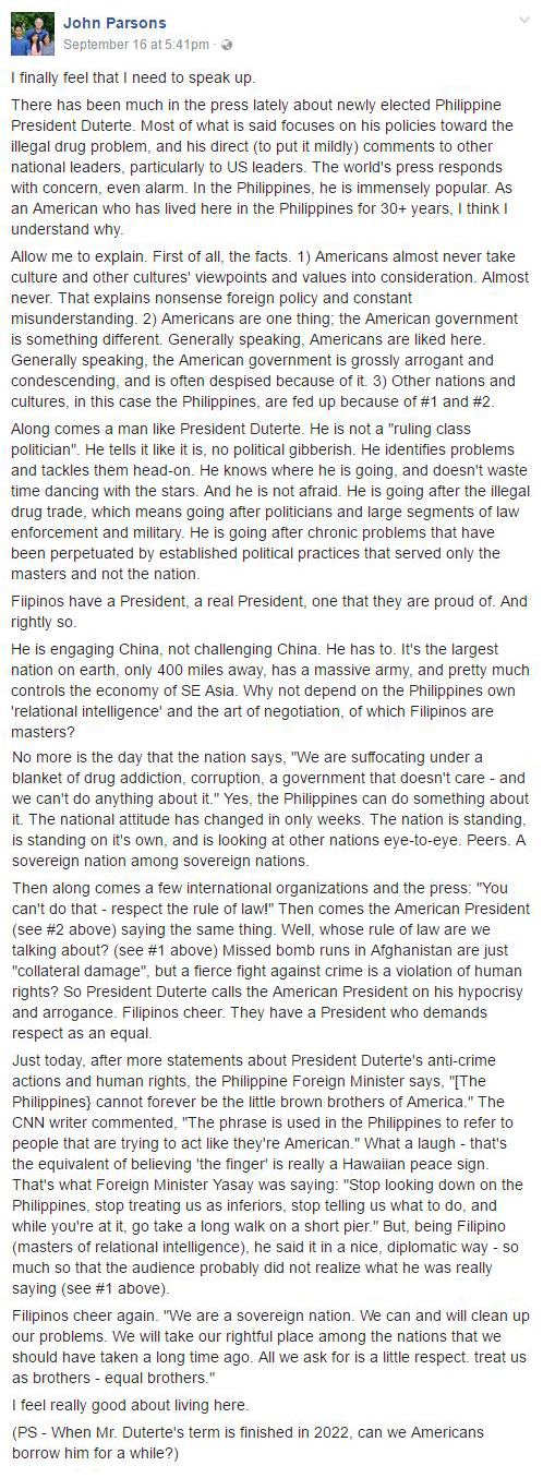 'Filipinos have a President, real President, one that they are proud ofl American who lived in the PH for 30 years, praised Duterte!