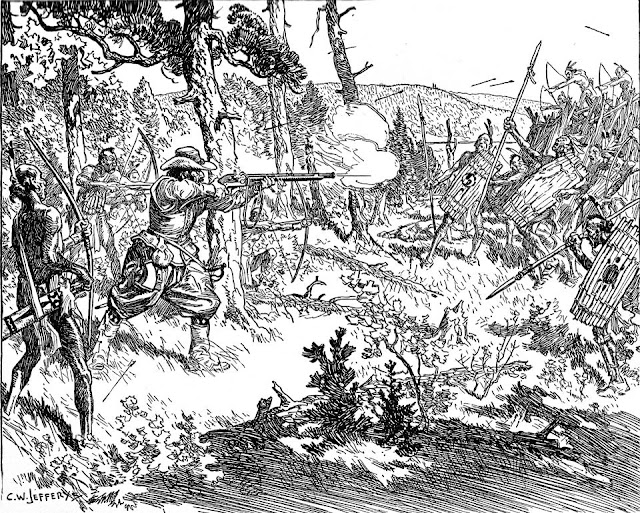 Champlain fighting with the Iroquois 1609