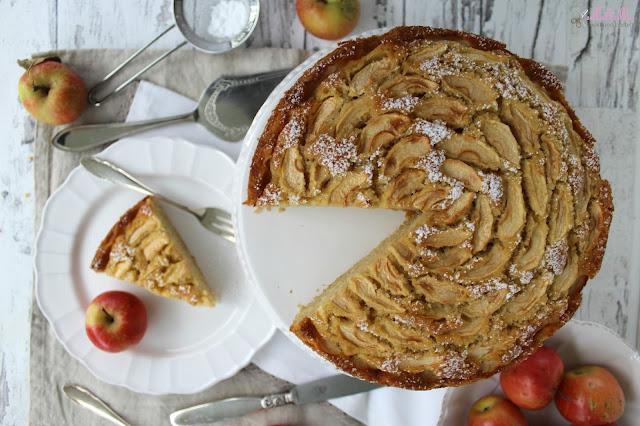 Rezept für Apfelkuchen mit Marzipan