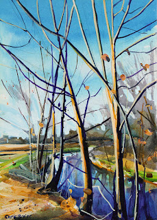 A painting of trees along Ellicott creek in amherst ny.