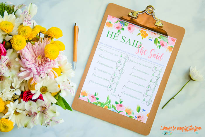 He Said, She Said Bridal Shower Game