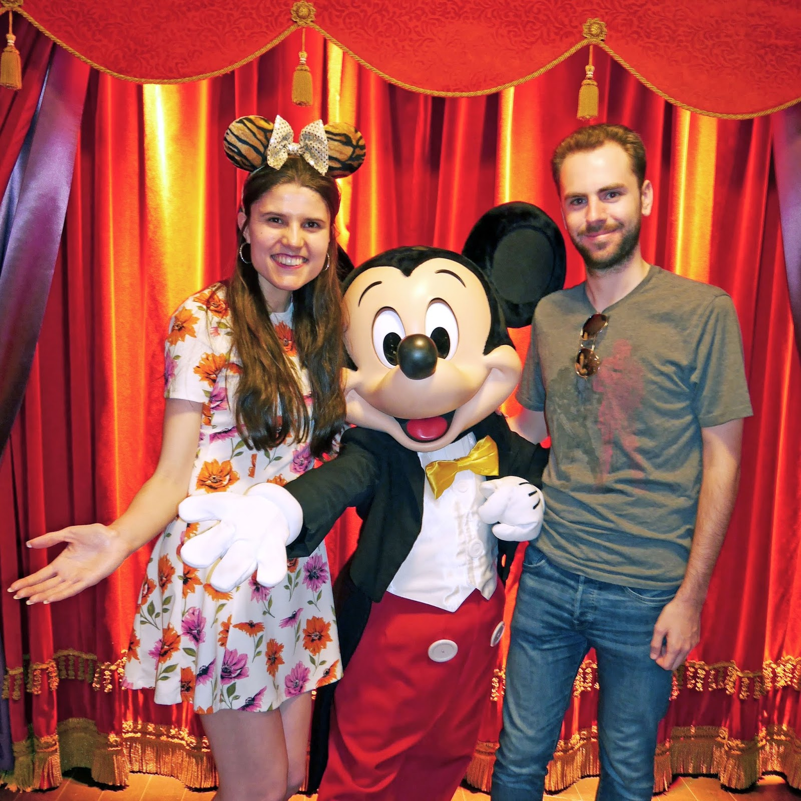 Kat Last and Stuart meeting Mickey Mouse at Disneyland Paris