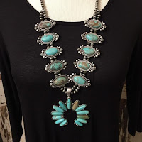 Full Squash Blossom Natural Turquoise Necklace Naja Southwestern Navajo Beads