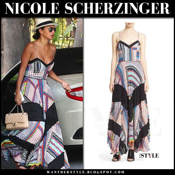 Nicole Scherzinger in multi print maxi dress parker skye what she wore