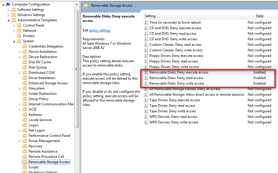 Group Policy Editor Windows 7 - USB Devices Disabled