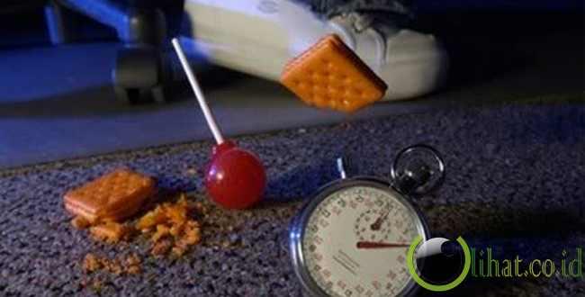Makanan yang jatuh ke lantai dianggap aman dimakan bila diambil kembali dalam lima detik