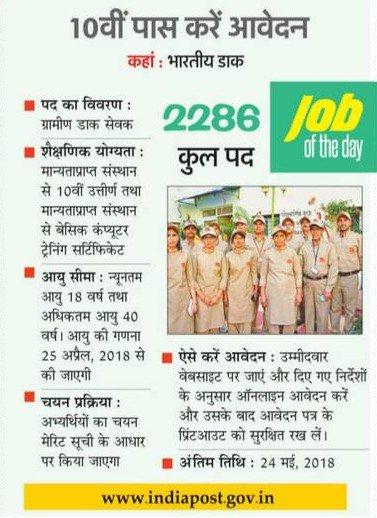 भारतीय डाक विभाग में निकली ग्रामीण डाक सेवक 2018 मे 2286 पदों पर बम्पर भर्ती , क्लिक करे और करे आवेदन