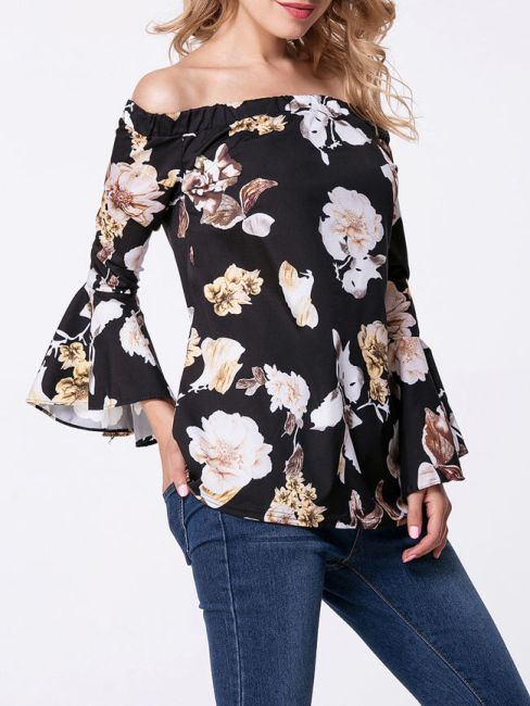 Off Shoulder Floral Printed Bell Sleeve Blouse -FashionMia Price: US$13.95